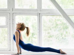 yoga post by the window